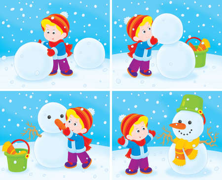 children s: Small child sculpts a funny snowman