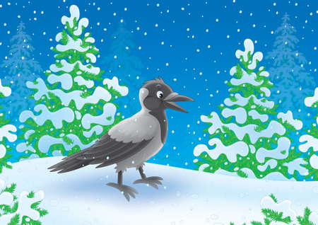 snowcovered: Crow walking in a snow-covered winter forest