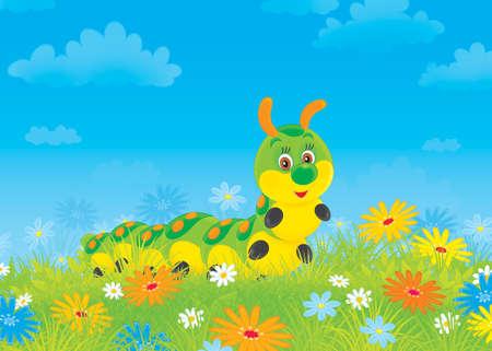 Funny caterpillar among field flowers