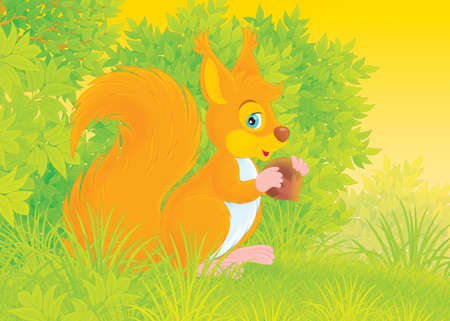 cartoony: Cartoony red squirrel with a nut on a forest glade Stock Photo