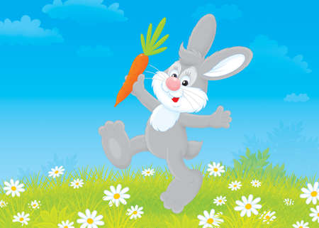 cottontail: rabbit friendly smiling and jumping with a carrot Stock Photo
