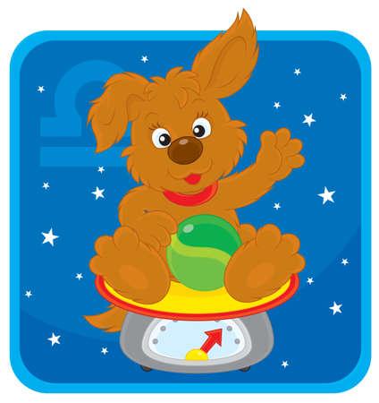 zodiacal sign: Signo zodiacal de Libra como un cachorro sentado en escalas
