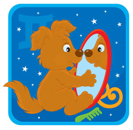Zodiac sign of Gemini as a pup looking in a mirror Vector