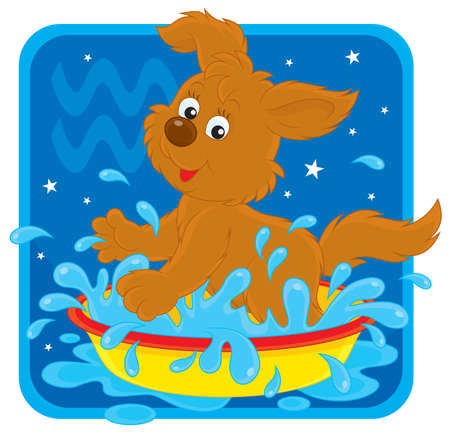 Zodiac sign of Aquarius as a splashing pup Stock Vector - 17466019