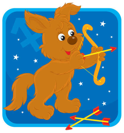 Zodiac sign of Sagittarius as a pup shooting a bow Vector