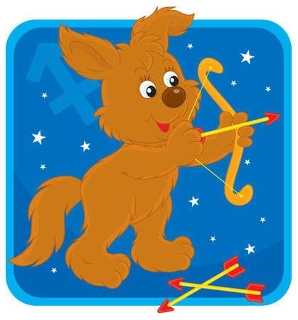 Zodiac sign of Sagittarius as a pup shooting a bow Stock Vector - 17466028