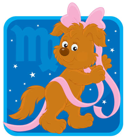 Zodiac sign of Virgo as a pup with a pink bow Vector