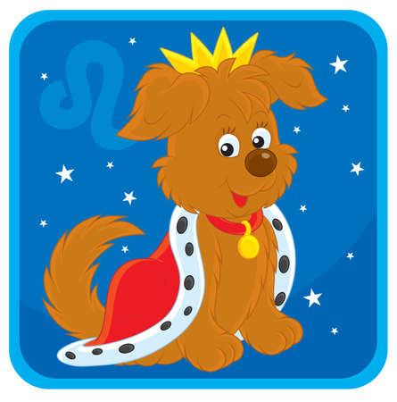 Zodiac sign of Leo as a pup wearing a king crown  Vector