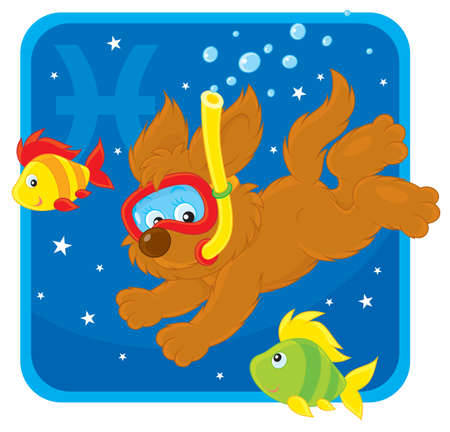 Zodiac sign of Pisces as a pup diving with fishes Vector