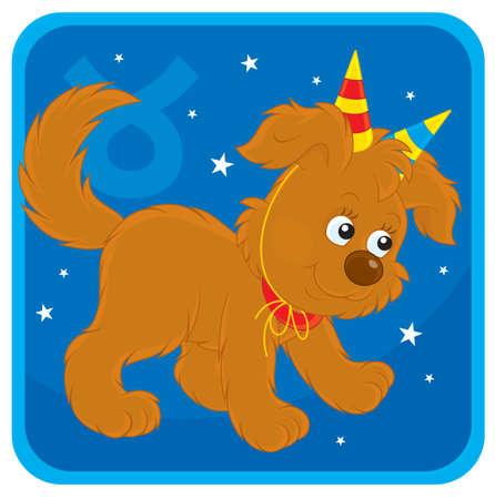 welpe: Sternzeichen Stier als Welpe mit Spielzeug H�rner Illustration