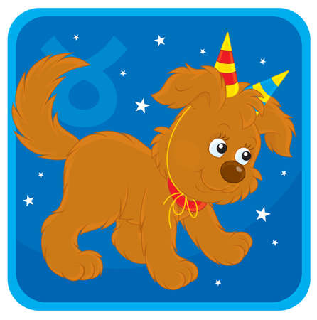 Zodiac sign of Taurus as a pup with toy horns Vector