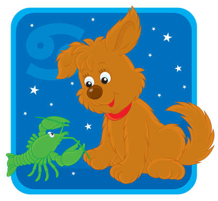 Zodiac sign of Cancer as a pup with a crawfish Stock Vector - 17466020