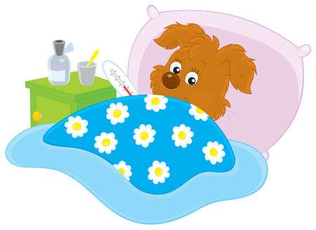 lying on bed: Ill cachorro acostado en su cama con un term�metro