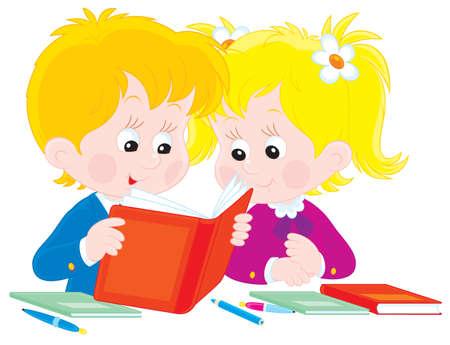 first grader: Schoolboy and schoolgirl reading a book Illustration