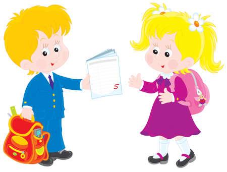 schoolkid: Schoolboy and schoolgirl talking after lesson Illustration