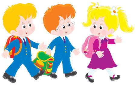 niños saliendo de la escuela: escolares caminando y hablando después de las clases
