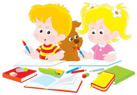 niños escribiendo: Colegial y colegiala haciendo su tarea