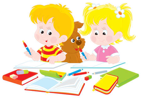 Schoolboy and schoolgirl doing their homework Vector