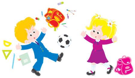 first grader: Schoolboy and schoolgirl on vacation Illustration