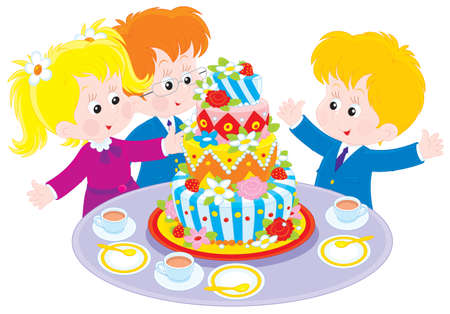 Girl And Boy With A Big Colorful Birthday Cake Royalty Free Cliparts