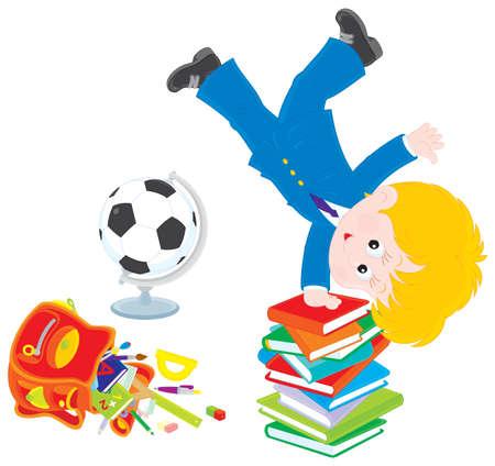 grader: Schoolboy after lessons