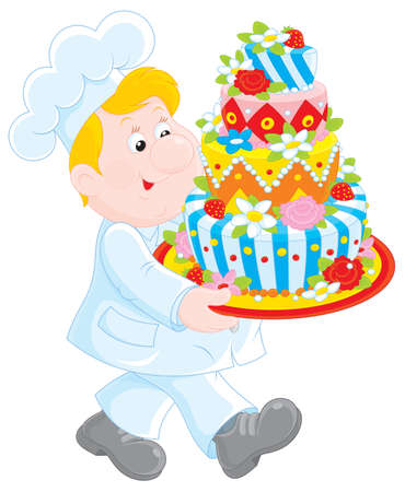 confectioner carrying a holiday cake Vector