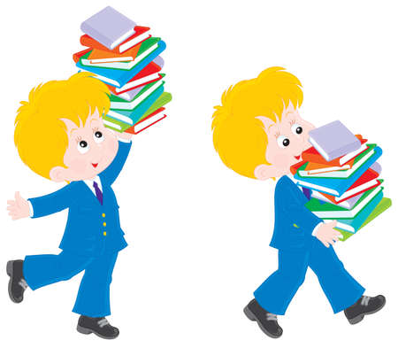 classbook: Schoolkid holding a stack of books