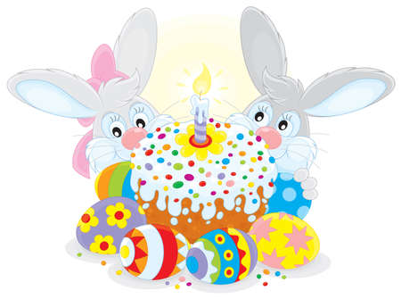 paskha: Grey bunnies with an Easter cake and eggs Illustration