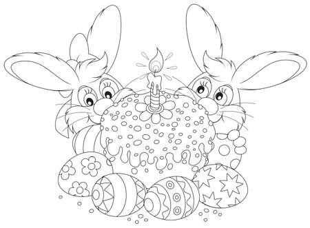 coniglio di pasqua: coniglietti, Torta di Pasqua e uova dipinte Vettoriali