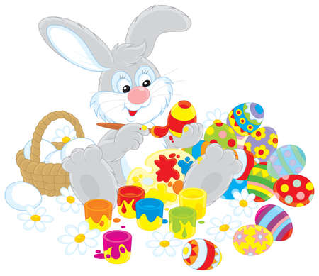 Easter Bunny painter Stock Vector - 17891634