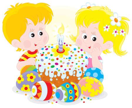 gemelos niÑo y niÑa: Chica y chico con un colorido pastel de Pascua y huevos Vectores
