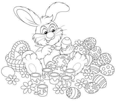 Easter Bunny painting Easter eggs Stock Vector - 17891682