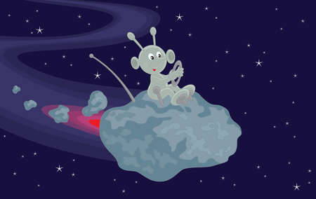 Funny alien flies on a small asteroid in space Stock Vector - 17891672