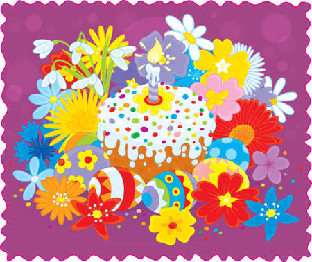 Easter cake, eggs and flowers Stock Vector - 17891689