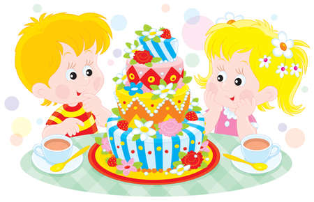 torte: Girl and boy with a big colorful birthday cake Illustration