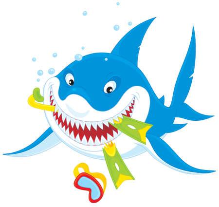 man eater: Great white shark Illustration