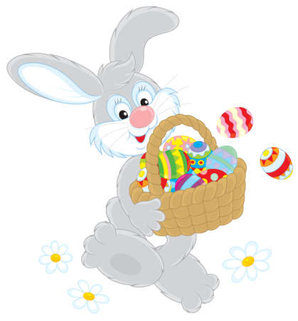 eastertide: Easter Bunny with a basket of eggs