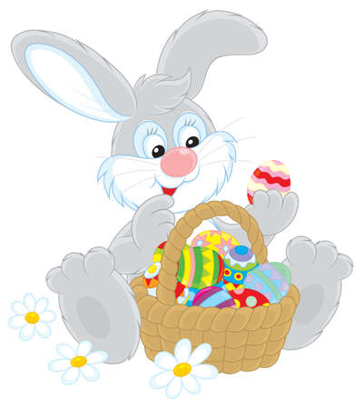 Easter Bunny with a basket of colorful Easter eggs Stock Vector - 17990066