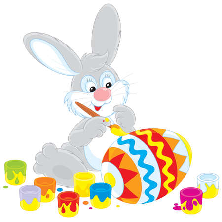 Easter Bunny decorating a big Easter egg  Vector