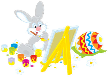 Easter Bunny drawing a colorful Easter egg  Vector