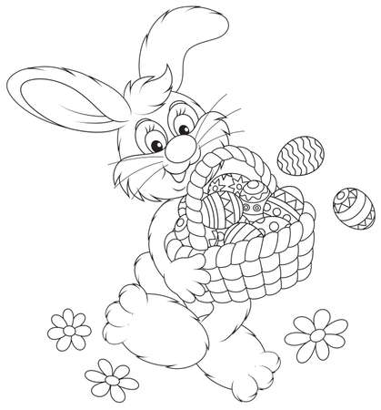 coloring book page: Easter Bunny with a basket of decorated eggs