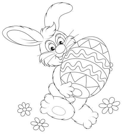 cottontail: Conejo de Pascua que lleva un gran huevo de Pascua pintado Vectores