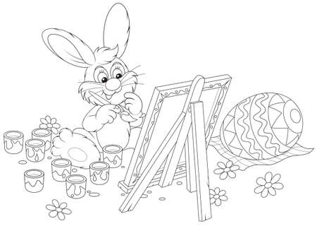 Easter Bunny drawing a decorated Easter egg Stock Vector - 18014366