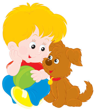 little boy cartoon: Boy and puppy