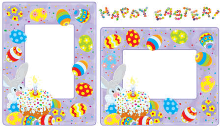 Easter borders with Bunny, cake and eggs Stock Vector - 18033765