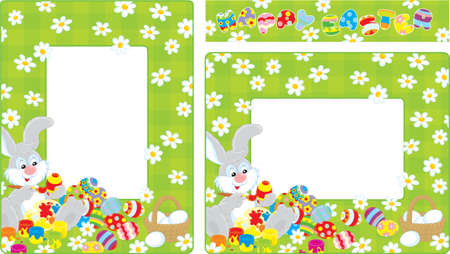 Easter borders with Bunny coloring Easter eggs Vector
