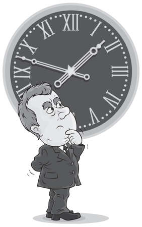 Bureaucrat thinking about daylight saving time Stock Vector - 18067168