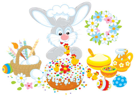 paskha: Easter bunny decorates a fancy cake