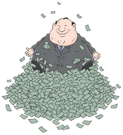 lucrative: Businessman sitting on a big pile of money Illustration