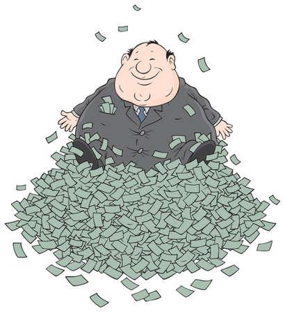 enten: Zakenman zittend op een grote stapel geld Stock Illustratie